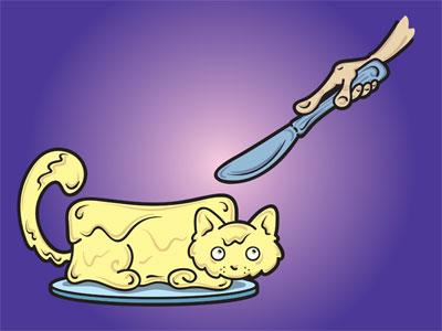 Cat Butter Illustration